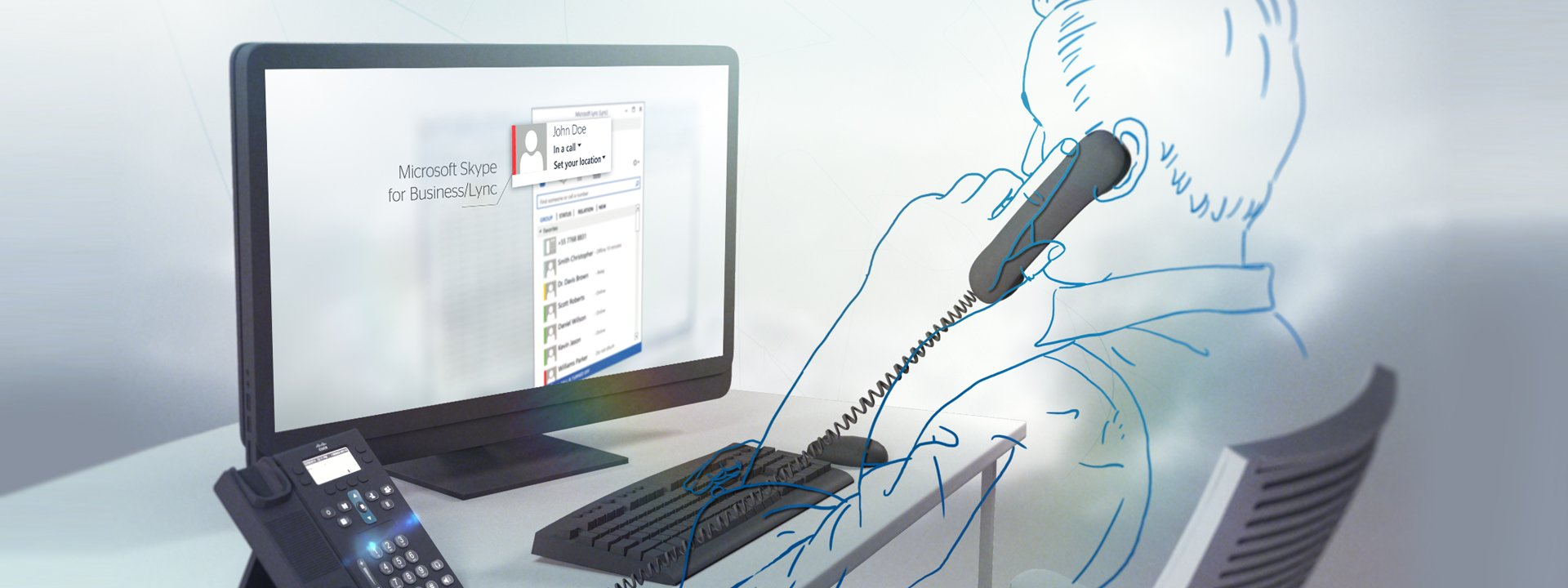 illustration of a man on a desktop with skype for business Intelligence presence